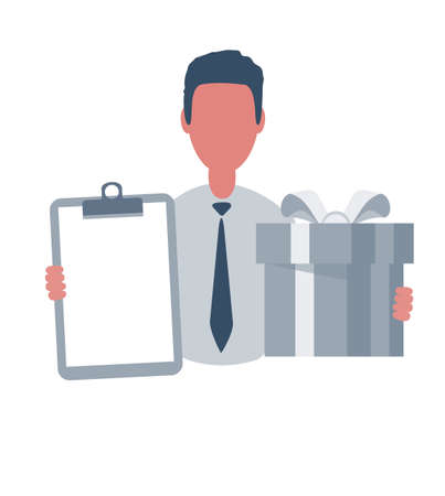 Businessman or clerk holding a writing paper and a gift box. Male character in simple style with objects, flat vector illustration. Isolated on white background. Vettoriali
