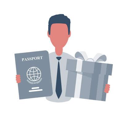 Businessman or clerk holding a passport and a gift box. Male character in simple style with objects, flat vector illustration. Isolated on white background.
