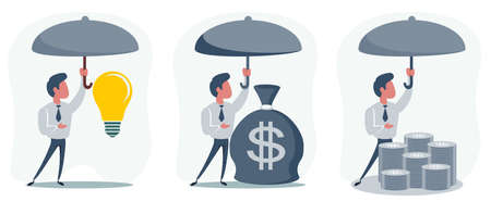 Man holding umbrella under rain to protect money. money protection, financial savings concpet. Illustration in flat style Vettoriali