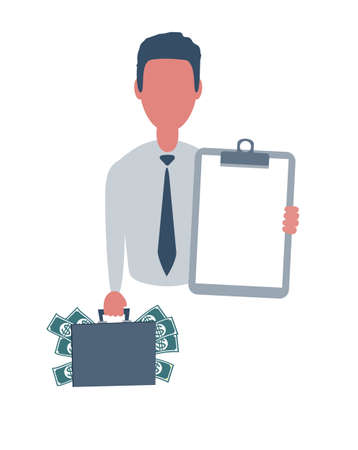 Businessman or clerk holding a blank paper and a suitcase with money. Male character in simple style with objects, flat vector illustration. Isolated on white background.