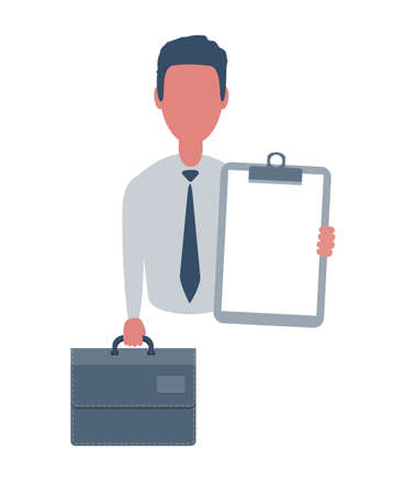 Businessman or clerk holding a blank paper and a suitcase. Male character in simple style with objects, flat vector illustration. Isolated on white background. Vettoriali