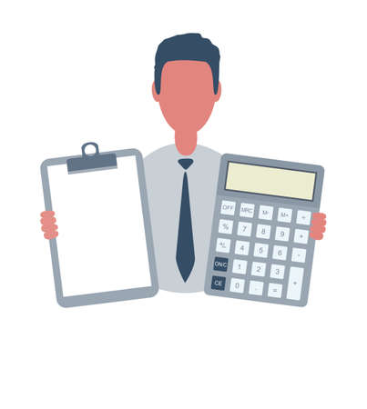 Businessman or clerk holding a blank paper and a calculator. Male character in simple style with objects, flat vector illustration. Isolated on white background.