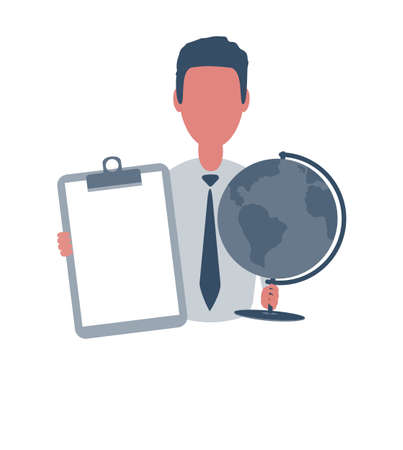Businessman or clerk holding a blank paper and a globe. Male character in simple style with objects, flat vector illustration. Isolated on white background.