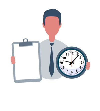 Businessman or clerk holding a blank paper and a clock. Male character in simple style with objects, flat vector illustration. Isolated on white background.