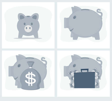 Pig piggy bank vector illustration in flat style. The concept of saving or save money or open a bank deposit. The idea of an icon of investments in the form of a toy pig piggy bank. Vettoriali