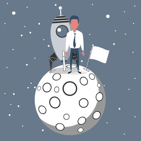 Successful businessman gets the moon holding a flag. Vettoriali