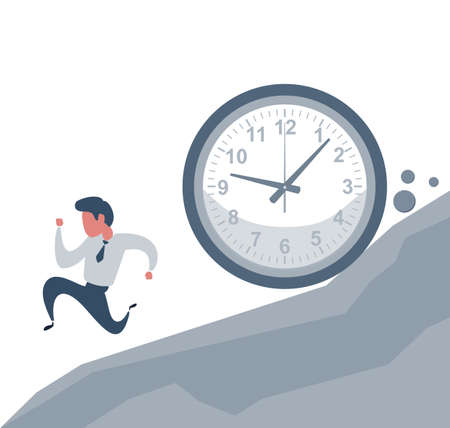 Concept of missing deadline, bad time management. Scene of tired, nervous, stressed male at work. Sad businessman running away from a big clock . Big fail.