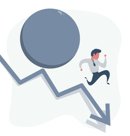 Man running down on a arrow followed by a big rock rolling after him, business concept of danger, concept of financial crisis, risk avoidance, escaping