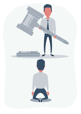 Cartoon character. Business man hold in hands Gavel justice symbol. flat illustration