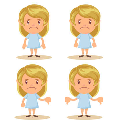 Little girl show disagreement with thumb down gesture. Small discontented school girl. Child shows gesture disapproval, dislike, discontent. Vettoriali