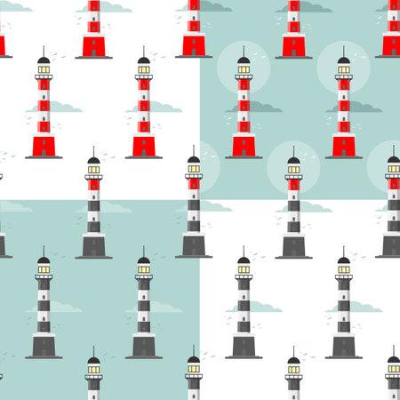 lighthouse seamless pattern on a blue background Vettoriali