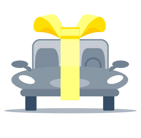New car with gold bow ribbon as a present.