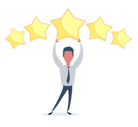Businessman holding five gold stars for rating, quality and business concept. Vettoriali