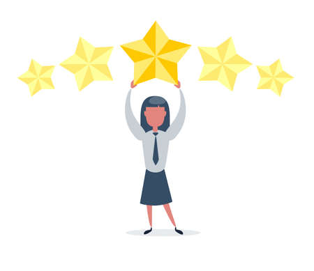Businesswoman holding five gold stars for rating, quality and business concept.
