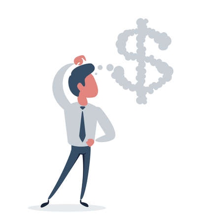 Businessman or manager. A man is thinking about money.