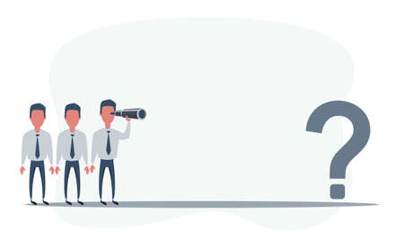 Business vision. Man using telescope looking for success, opportunities, future business trends. Question mark. Confusion and challenge concept