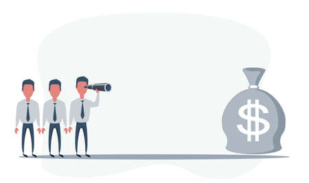 Businessman looking for big money. Man using telescope looking for success, opportunities, future business trends. Vision concept.