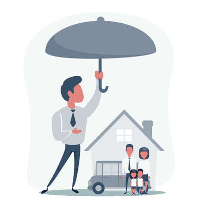 Insurance Home House Life Car. Concept of insurance with umbrella over a house, a car and a family