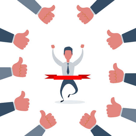 Concept of successful businessman in a finishing line with many thumbs up hands. Vettoriali