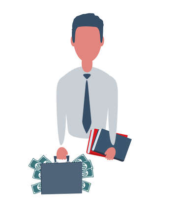Businessman or clerk holding a suitcase with money and a winner certificate. Male character in simple style with objects. Business concept. Isolated on white background.
