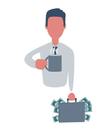 Businessman or clerk holding a suitcase with money and with a cup of tea. Male character in simple style with objects. Business concept. Isolated on white background.