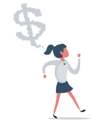 A woman thinking about money. Businesswoman or manager.