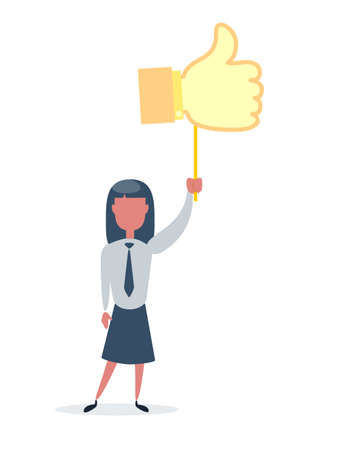 Happy businesswoman with prize thumbs up sign. Businesswoman holds the prize over head. Likes and positive feedback concept.