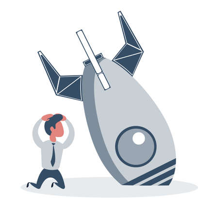Businessman and rocket crashed. Business failure, the rocket fall down.
