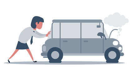 Woman pushing a broken car. Car run out of fuel. Vector illustration, flat