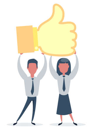 Man and woman hold big thumb up icon. Successful social media, teamwork. Business poster, card for presentation, social media, banner, web page.