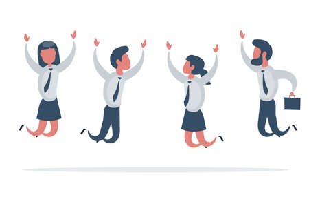 Businessman and woman jump with happiness together. Business people jumping up celebrating success.
