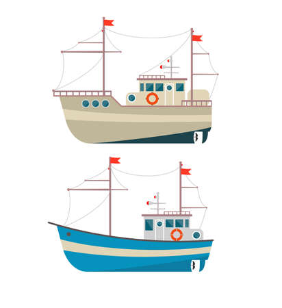 Commercial fishing boat side view isolated icon. Sea or ocean transportation, marine ship for industrial seafood production . Vettoriali