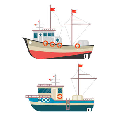 Commercial fishing boat side view isolated icon. Sea or ocean transportation, marine ship for industrial seafood production.