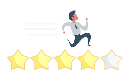 User experience, customer feedback stars rating or business and investment rating concept, businessman added golden yellow star for rating. Vettoriali