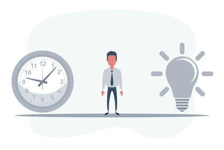 Time To Think. Time plus idea equals happy. Ilustración de vector