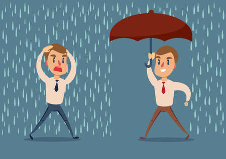 Man in the rain. businessman run from the rain while another businessman has the umbrella. Vettoriali