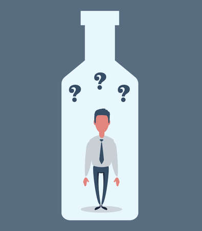 Alcohol and addiction, Young male character trapped inside a bottle, health problems Illustration