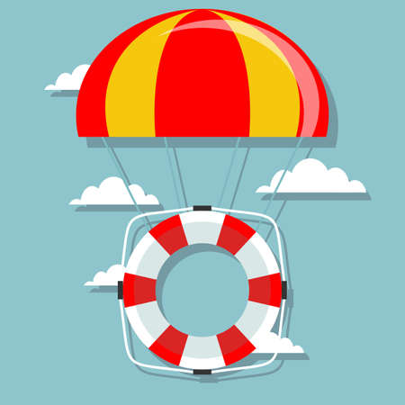 Life buoy with parachute in the sky.