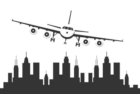Airplane flying over a urban city.
