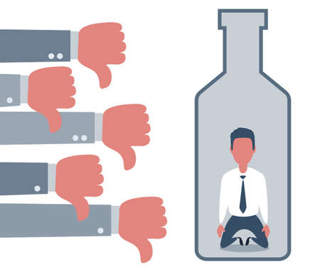 People show Thumbs down dislike for depressed and sad man in a big bottle of alcohol drink. Alcoholic addicted to Flat style concept vector illustration on white vector Illustration