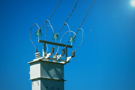 High voltage power transformer substation. Power Transmission Line.