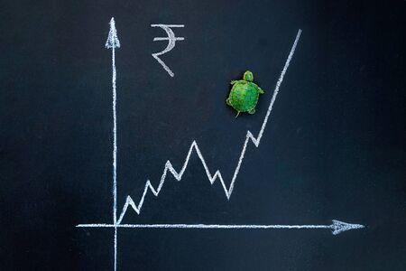 Slow but stable investment or low fluctuate stock market concept, miniature figure turtle walking on chalkboard with drawing price line graph of stock market value.Indian rupee exchange rate.