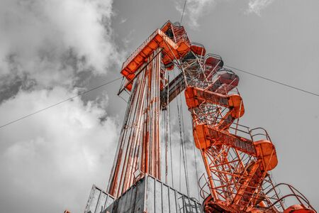 Oil and Gas Drilling Rig. Oil drilling rig operation on the oil platform in oil and gas industry. Petroleum Industry.