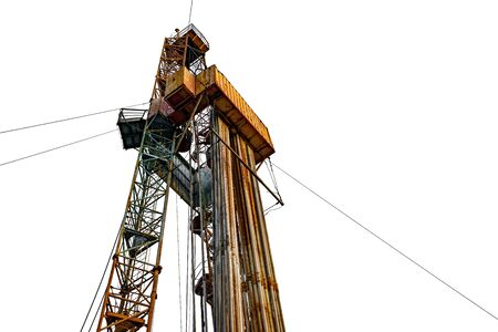 Oil and Gas Drilling Rig. Oil platform isolated on white background. Drilling rig in oil field for drilled into subsurface in order to produced crude, inside view. Petroleum Industry.