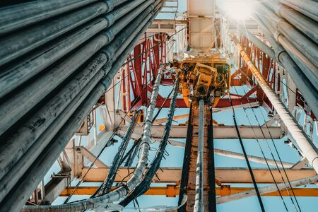 Drilling rig in oil field for drilled into subsurface in order to produced crude, inside view. Petroleum Industry. Standard-Bild - 133608062