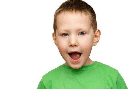 Surprised child open his mouth isolated on a white background. Child with astonished expression Standard-Bild - 133608071