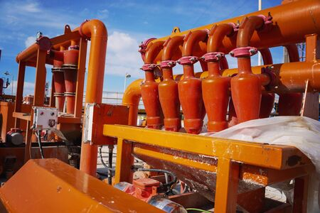 Separators are end. Equipment for oil separation. Modular oil treatment unit. Bulite for separation. Low pressure separators Standard-Bild - 133608873