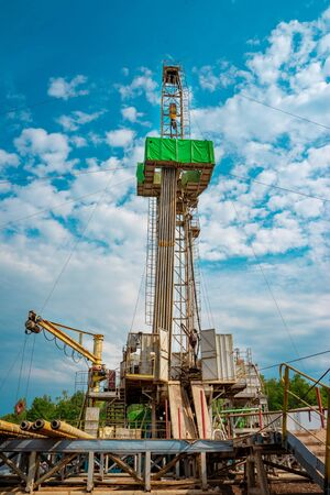 Drilling rig in oil field for drilled into subsurface in order to produced crude, inside view. Petroleum Industry. Onshore drilling rig. Standard-Bild - 133610547