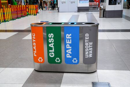Modern trash bins for waste segregation. Separate waste collection. Management recycle garbage