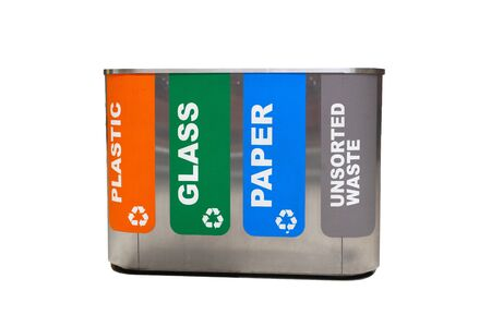 yellow, green, blue and red recycle bins with recycle symbol isolated on white background Reklamní fotografie